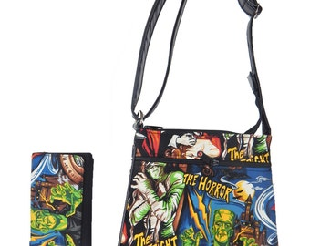 "A Cross Body Bag and   A Matching Wallet With ""MONSTERS"" Pattern, Cotton, New , (only 2 Items)"