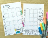 Printable and COLORABLE! Calendar planner insert- SCHOOL Theme- Digital File Instant Download- 2 sizes, full-sheet & half-sheet sizes