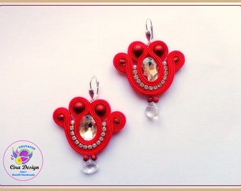 Soutache red earings with siver crystal cabochon