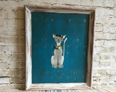 Cat art,Turquoise wall art,Shabby Chic teal,one of a kind,turquoise nursery,Paris kitty art,gray and teal,rhinestones,trendy,funky,glamorous