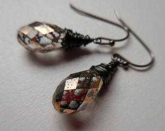 Antiqued Swarovski Teardrop Earrings - Gunmetal Earrings with Rose Gold Patina Teardrops