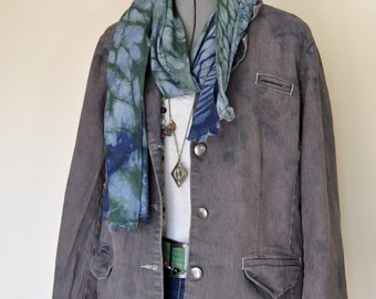 Brown 1X XL Denim JACKET - Dark Brown Dyed Upcycled Goddess Denim Blazer Jacket - Adult Womens Size Extra Large (50 chest)