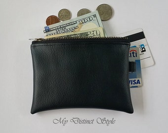 Men's Coin Purse / Faux Leather Coin Purse / Key ring pouch / Water Resistant Coin Purse