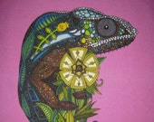 "Iguana Linen Pillow Panel 12"" LAST ONE"