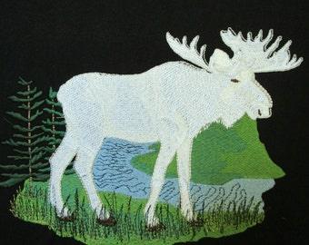 Large White Moose Embroidered Quilt Fabric Block