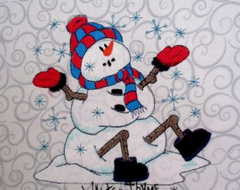 Country Snowman Large Embroidered Quilt Craft Block