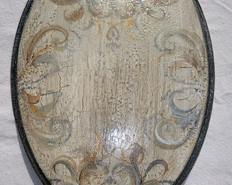 "Vintage, Toilet seat, Restoration / Old World / Gray Tuscan Handpainted designl / Metal hinges ~ 18"" Elongated Seat / MADE to ORDER"