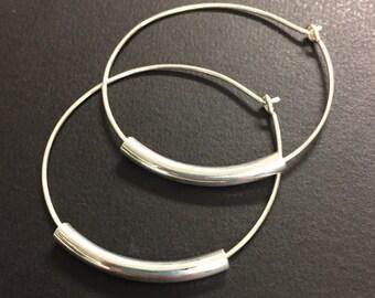 Hoop Earrings - Sterling Silver Hoop Earrings - Lightweight Hoop Earrings - Medium Size Hoop Earrings - 1 1/2 Inch Diameter Hoop Earrings