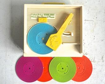 Vintage Fisher Price, Sesame Street Music Box Record Player 1984 5 Records