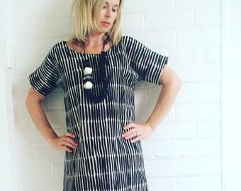 Black and Beige Womens Dress made with Marimekko, marimekko silmukat fabric, Linen  Dress, Womens Dress