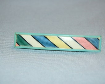 Vintage / Barrette / Stripes / Hair Clip / Goody / Signed / Pink / Blue / Yellow / old jewelry jewellery