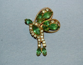 Vintage / Chartreuse / Green / Insect / Bug / Large / Butterfly / Brooch / Rhinestones / old jewellery jewelry
