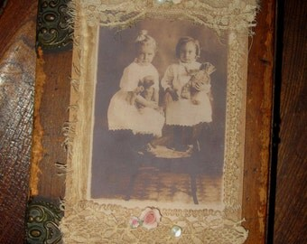 Vintage Lace Collage Tag Extra Large Sweet Sisters with Teddy Bears