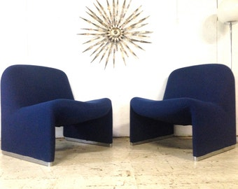 "Pair Giancarlo Piretti ""Alky"" Lounge Chairs Castelli Italian Mid Century Modern Chairs"