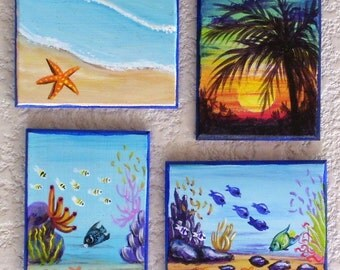 Tropical Magnets Hand Painted Miniature Art Sunset, Starfish, Reef Scene