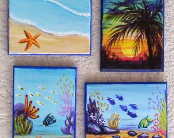 Tropical Magnet Hand Painted Miniature Art Sunset, Starfish, Reef Scene