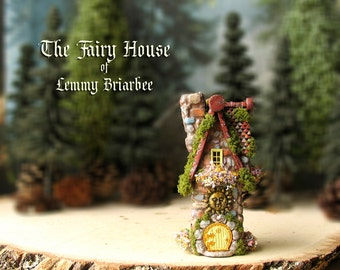 RESERVED for Sarah - Lemmy Briarbee's Fairy House - Miniature Woodland House with Fairy Door, Mossy Roof, Sun Sigil & Flowering Window Boxes