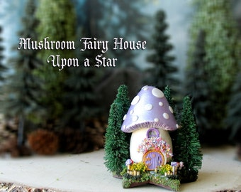 Mushroom Fairy House Upon a Star - Miniature Pearl Lilac Purple Capped Woodland House - Pine Trees, Round Fairy Door and Flowering Bushes