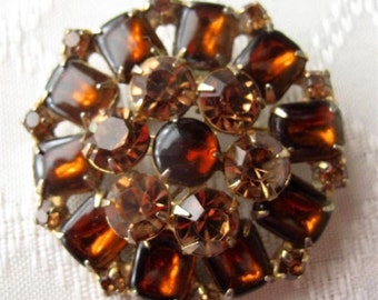 Weiss Vintage Brooch with Amber Stones