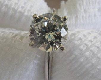 14 K White Gold CZ Ring Estate Ring Engagement Ring