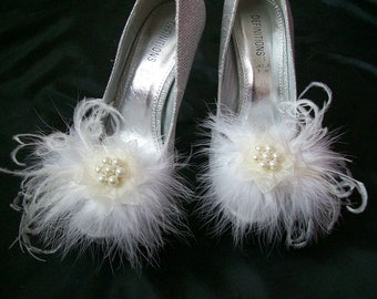 Ivory Fluff Feather and Satin Organza Lace Pearl Glamorous Shoe Clips Bridal Wedding - Custom Made to Order