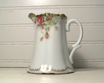 Victorian Style creamer pitcher, Roses on white porcelain,C T Altwasser Germany,  Vintage white creamer with roses