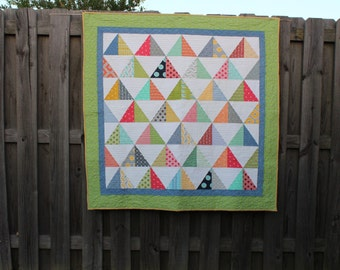 Quilts,  Quilt,  Modern Quilts,  Quilts for Sale, Pyramid Quilt, Baby Quilts, Custom Quilts,   Home Decor,  Gender Neutral   MADE TO ORDER