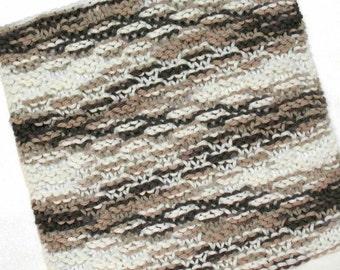 Knit Dishcloth, Cotton Dishcloth, Washcloth, Chocolate Brown, Neutral Kitchen Decor