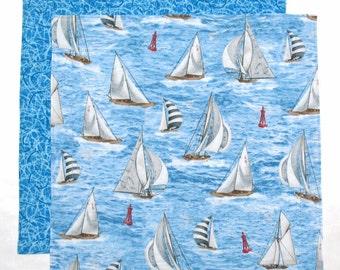 Kids Cloth Napkin, Lunchbox Napkin, Sail Boats, 1 double sided fabric napkin for kids