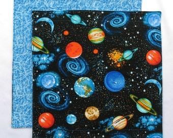 Outer Space Napkin, Kids Cloth Napkin, Boys Lunch Napkin, 1 double sided Fabric Kids Napkin for Boys