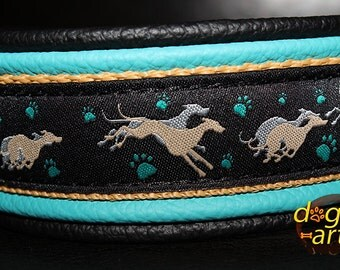 "Dog Collar ""Greyhound"" by dogs-art, whippet collar, greyhound collar, leather dog collar, martingale collar, boy dog collar, girl dog collar"