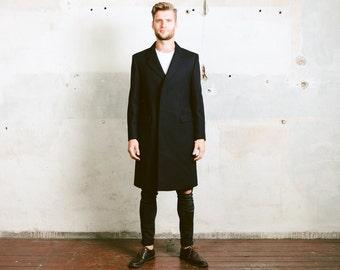 Navy Blue WOOL OVERCOAT . Mens WINTER Coat Vintage Luxurious Slim Fit Chesterfield Coat Pea Coat Outerwear . size Medium
