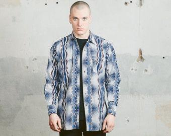 AZTEC Shirt . Long Sleeve Shirt Vintage 90s Clothing Men's Ethnic Shirt Southwestern Tribal Shirt Boyfriend Shirt Blue . size Large L