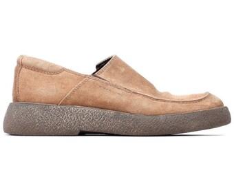 SALE . 90s GRUNGE Shoes . SUEDE Men Loafers Vagabond Beige Leather Wedges Slip On Moccasins Shoe size Us Men 7.5 / Us Women 9.5 , Eur 40 Uk