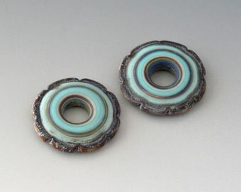 Rustic Ruffle Discs - (2) Handmade Lampwork Beads - Mint Green