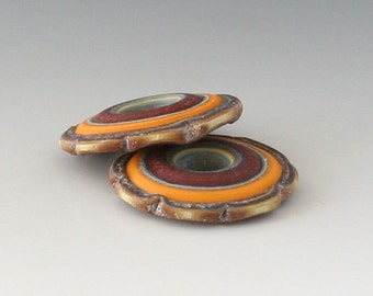 Rustic Ruffle Discs - (2) Handmade Lampwork Beads - Red, Gold