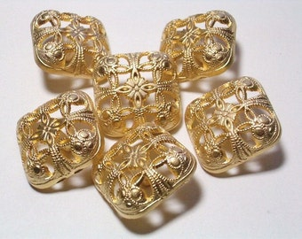 Filigree Gold Color Metal Buttons Square Detailed 20mm Set 6 Shank Buttons