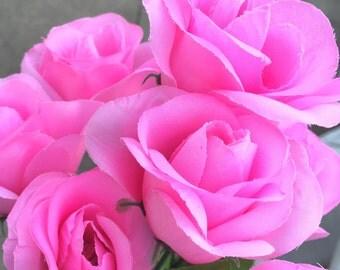 Flower Pen Set of 8- Light Pink Roses Wedding Bridal Shower Party Favors