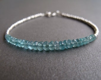 Blue Apatite Gemstone and Sterling Silver Bead Stacking Bracelet