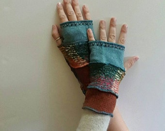 Recycled Sweater Blue Orange Fingerless Gloves Armwarmers Mitts