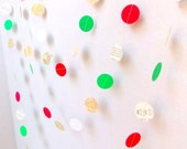 Christmas Paper Garland  / 10ft / Holiday Garland / Party Decor / Christmas Decoration / Mantle Decor /