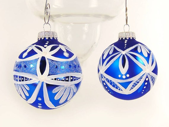 Hand-Painted Christmas Ornaments - White Painted Lace Design on Sapphire Blue Ball Set of 3 - Christmas Balls Hostess Gift Stocking Stuffers
