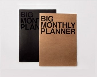 Monthly planner -Super Big size in 3 colors -black, kraft or silver