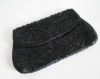 Black Beaded Evening Bag Made in France Gorwood Clutch Purse