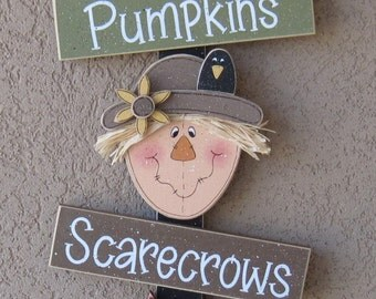 Fall Thoughts, Pumpkin, Scarecrow, Leaf, wall, door, office, and home decor