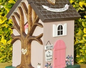Small Wedding Card Box Cottage Birdhouse with Flowers