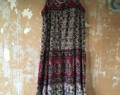 vintage.  70s Smock Tent Vintage Worn Dress / Cotton Dress // Free Size