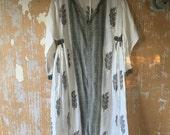 vintage. Rare Indian Gauze Cotton Dress   / Hippie Bohemian  / Free Size