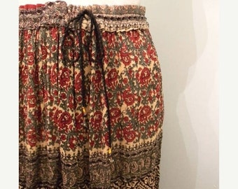 ON SALE vintage. Indian Gauze Rayon Drawstring  Mid Full Skirt / India / One Size fits All