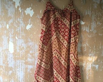 vintage.  Red Indonesian Batik Red Tent Vintage Worn Dress / Cotton Dress // Free Size